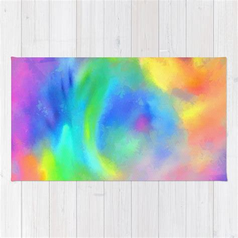 Amazing Rainbow Color Blend Abstract Rug by saravalor