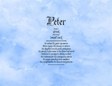 Meaning of the name Peter - NameMeaningsOnline