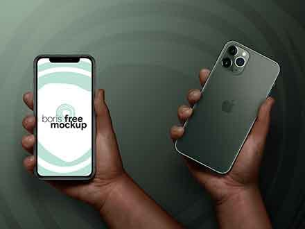 Free iPhone 11 Pro Max in Hand Mockup (PSD)