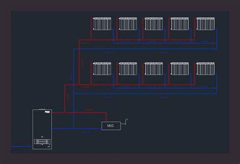 Block diagram of heating in AutoCAD | Download CAD free