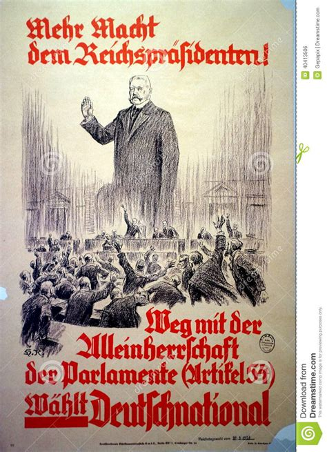 German 1928 Election Poster Editorial Photo - Image: 40413506