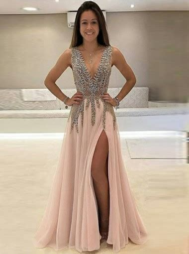 A-Line Deep V-Neck Sweep Train Sleeveless Pink Tulle Prom