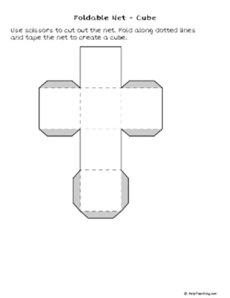 Foldable Net - Cube (Grade 3) - Free Printable Tests and